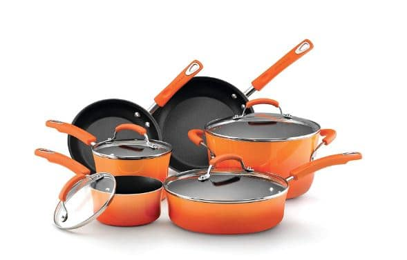 Rachael Ray Classic Brights Hard Enamel Nonstick 10-Piece Cookware Set