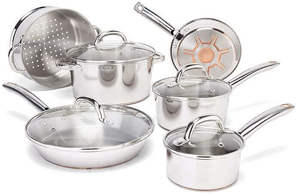 T-fal C836SA Ultimate Stainless Steel Copper-Bottom Heavy Gauge Multi-Layer Base Cookware Set