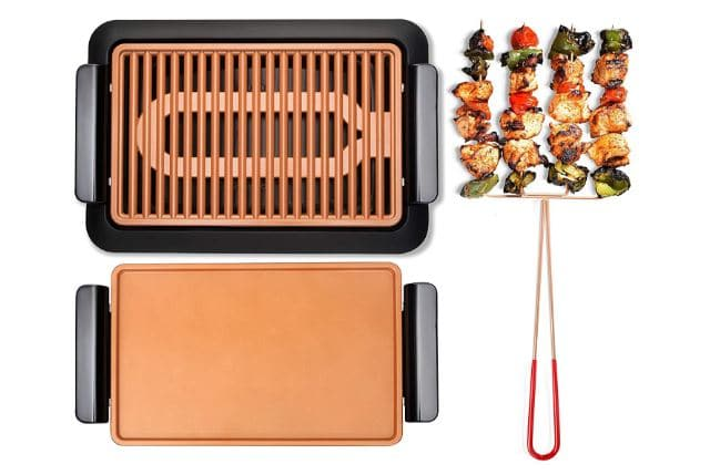 GOTHAM STEEL Smokeless Electric Grill, Griddle, and Pitchfork, Indoor BBQ and Nonstick As Seen On TV