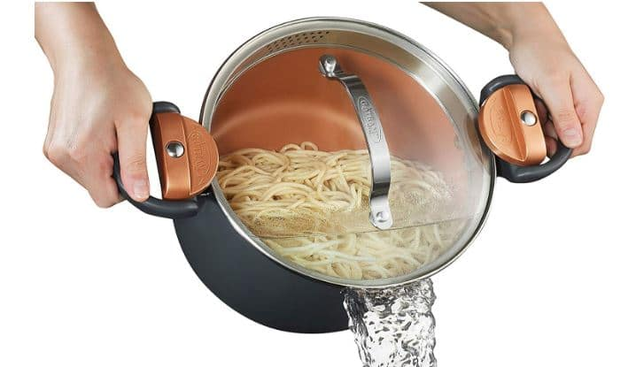 Gotham Steel 5 Quart Multipurpose Pasta Pot with Strainer Lid
