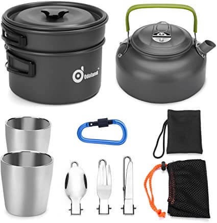 Odoland 10pcs Camping Cookware Mess Kit Review